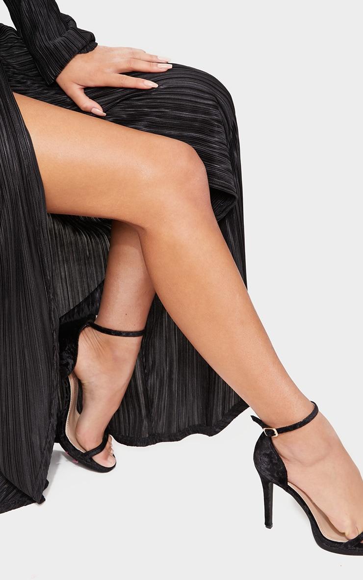 Black Pleated Wrap Front Long Sleeve Maxi Dress 5