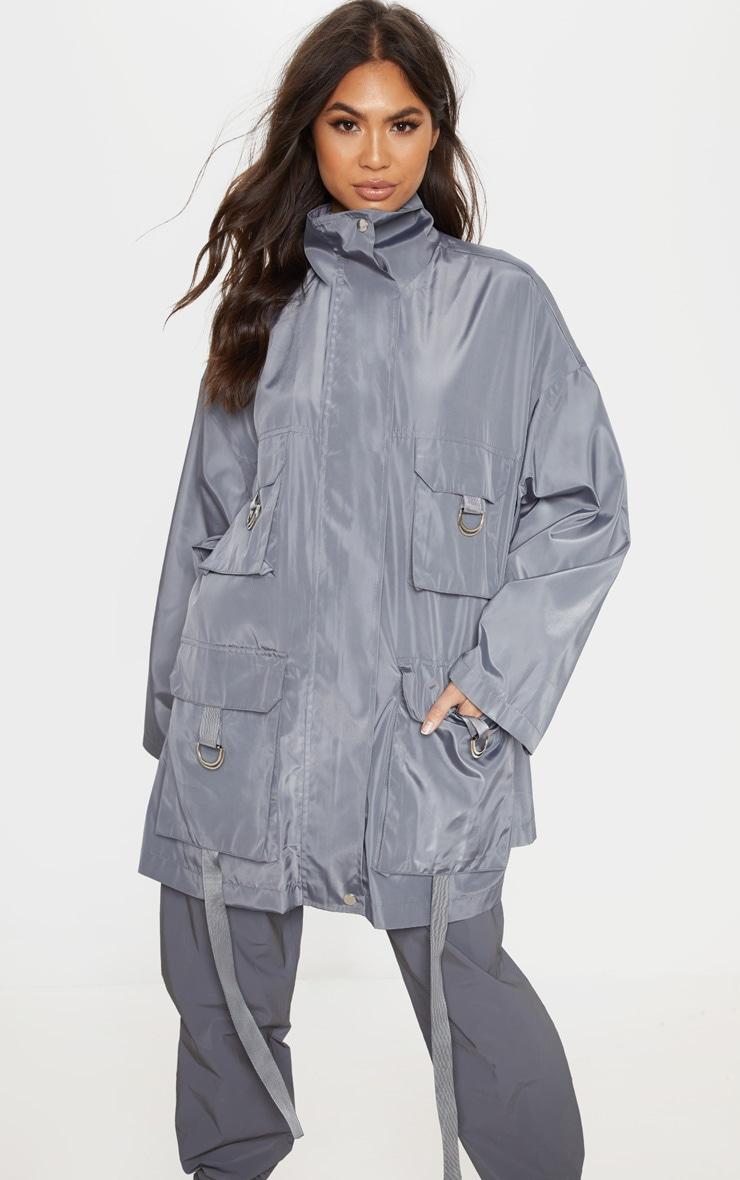 Charcoal Pocket Detail Oversized Jacket 4