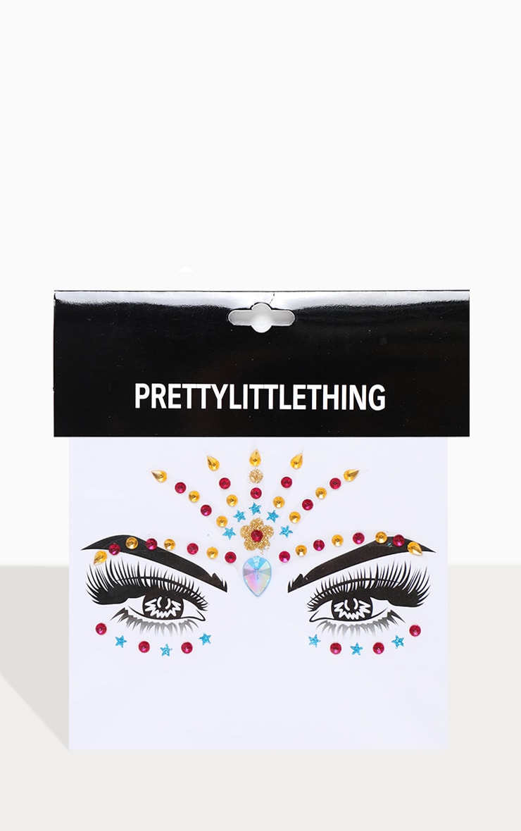 PRETTYLITTLETHING Gold Rainbow Festival Face Jewels 1