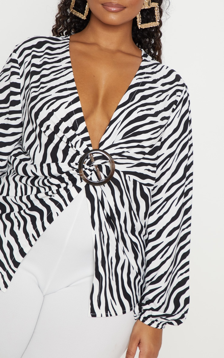 Plus Monochrome Zebra Print Ring Detail Twist Blouse  5