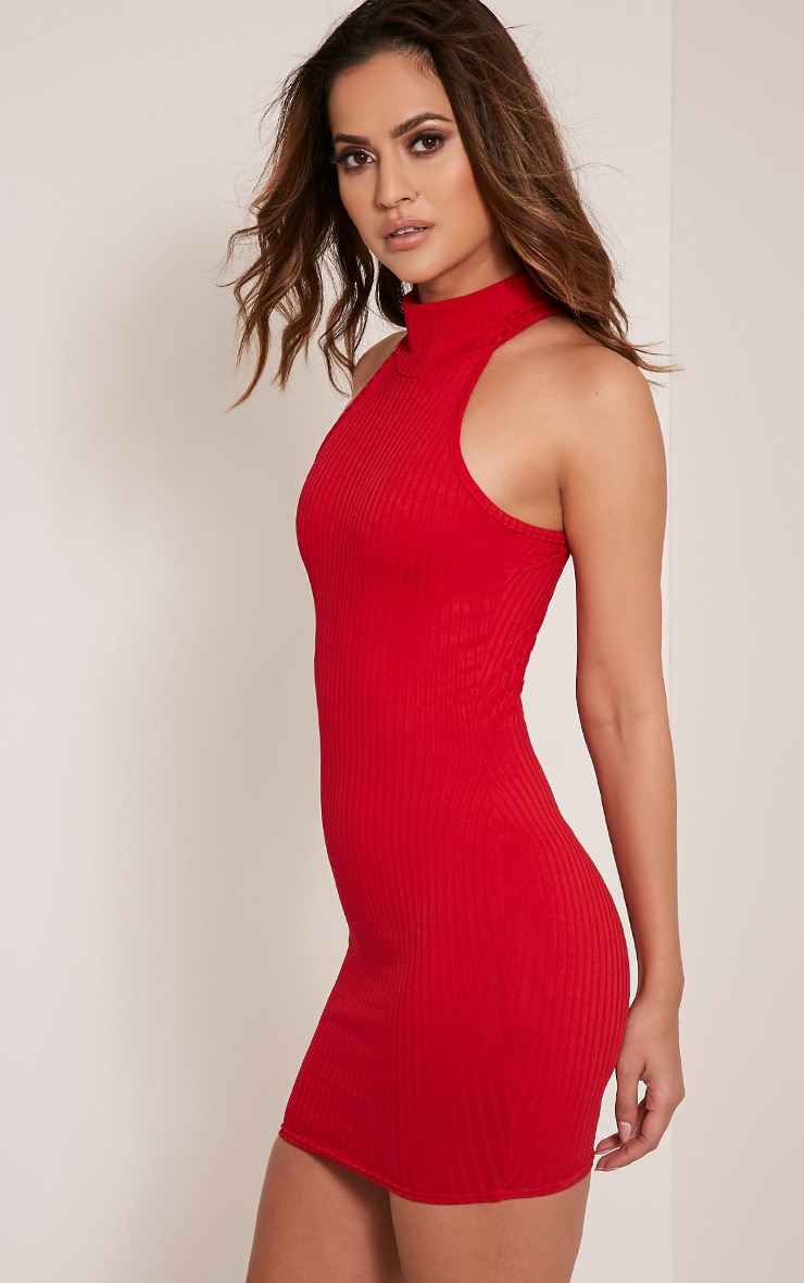 Pearla Red Racer Neck Ribbed Bodycon Dress 4