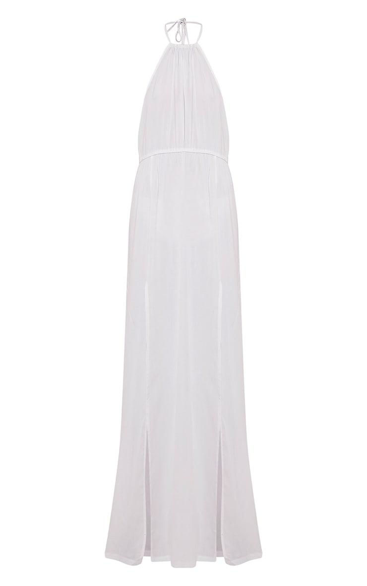 Brylee White Halterneck Split Front Maxi Dress 3