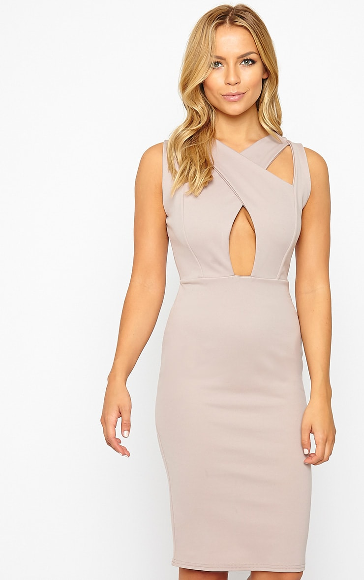 Gracen Mauve Cross Front & Back Midi Dress 4