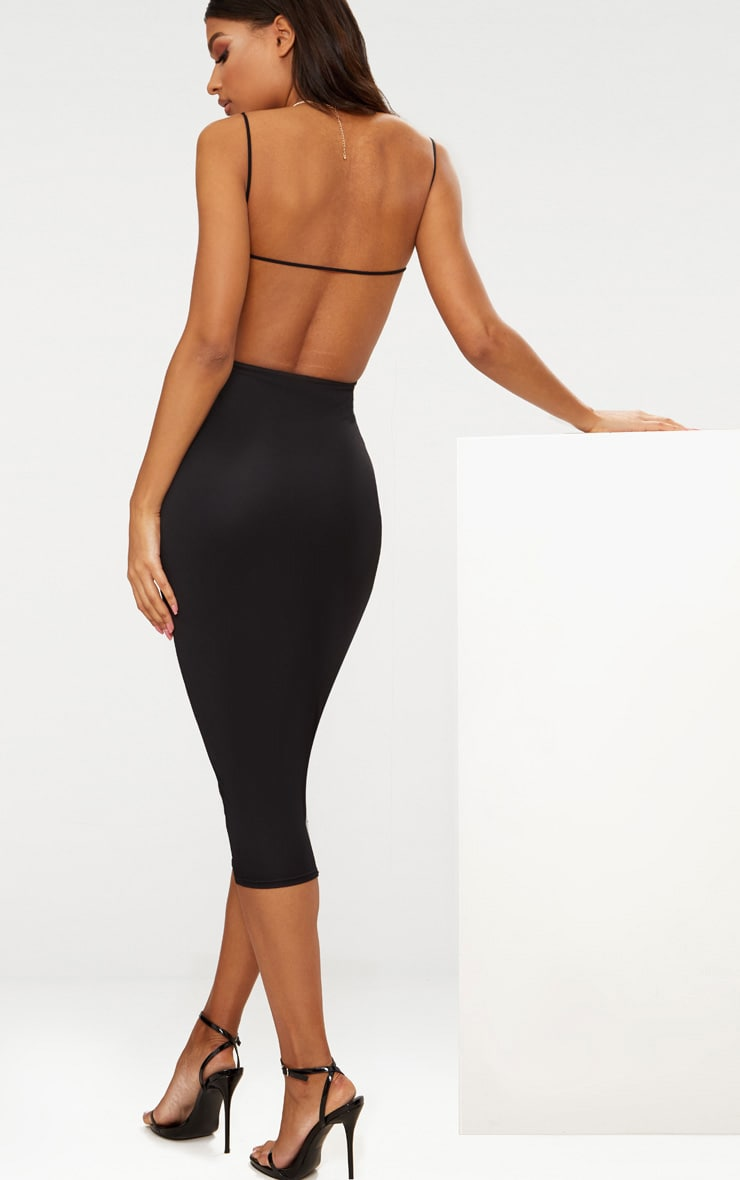 Black Straight Neck Strappy Back Midaxi Dress 1