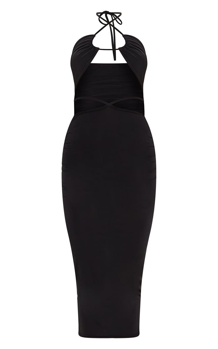 Black Slinky Halterneck Cut Out Strappy Detail Midaxi Dress 5