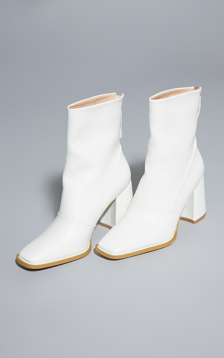White Square Toe Panel Flare Low Block Heel Ankle Boots 3