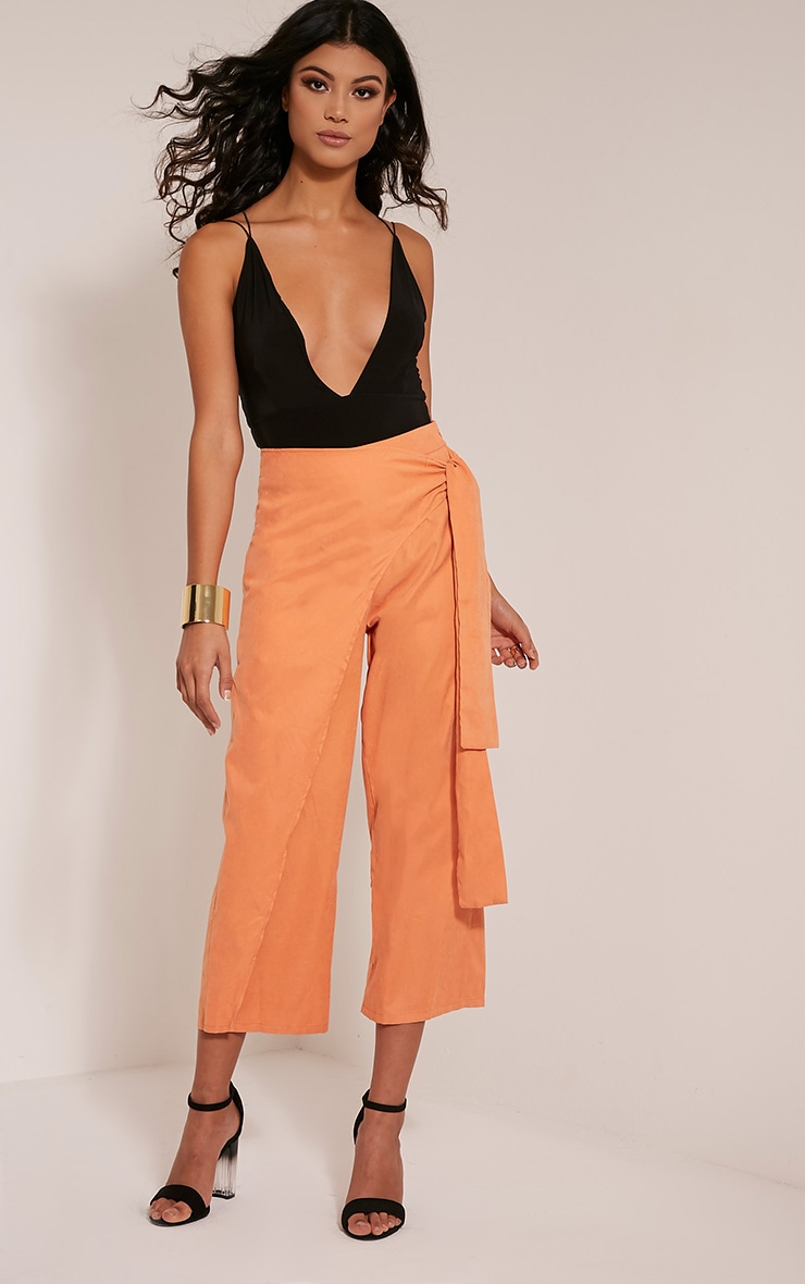 Shirley Pastel Orange Wrap Tie Culottes 1