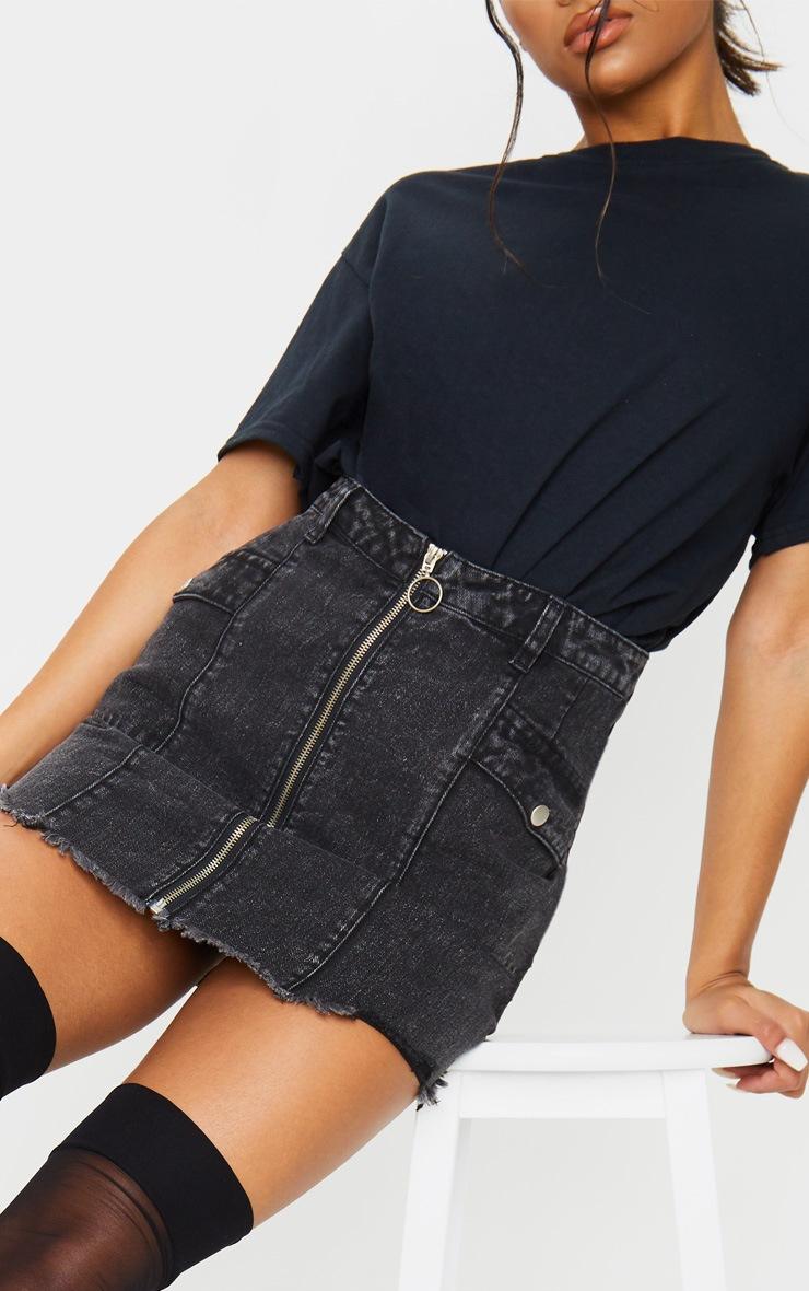 Washed Black Zip Through Double Pocket Denim Skirt 6