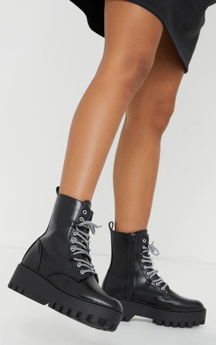 Black PU Hiker Lace Up Chunky Boots 1