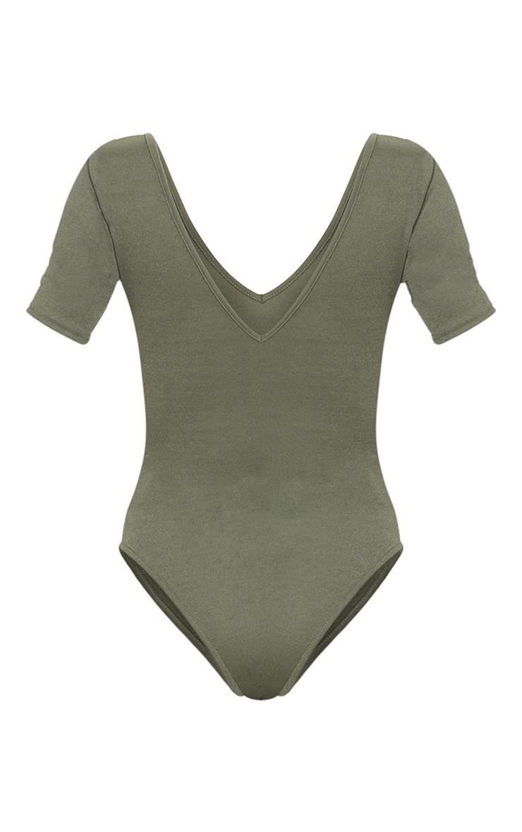 Khaki Crepe V Plunge Short Sleeve Bodysuit 6