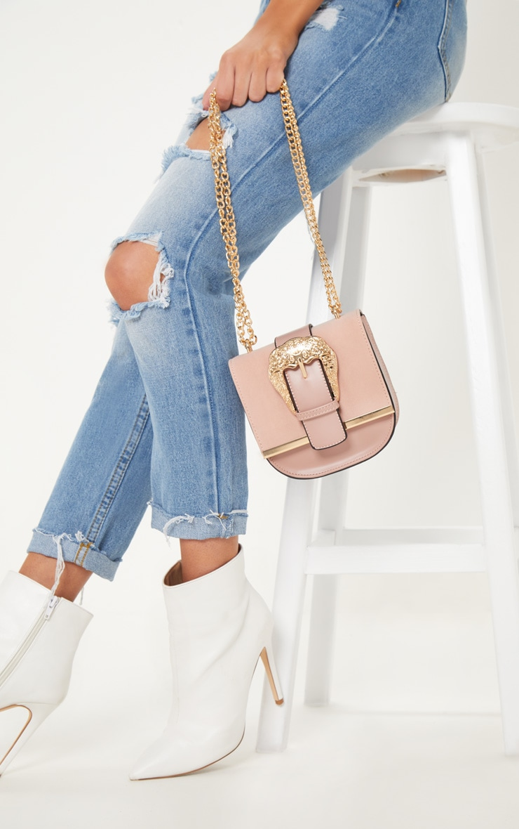 Pink Small Ornate Buckle Cross Body Bag