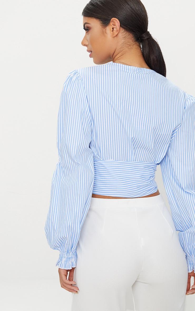 Blue Wrap Front Puff Shoulder Crop Shirt 2
