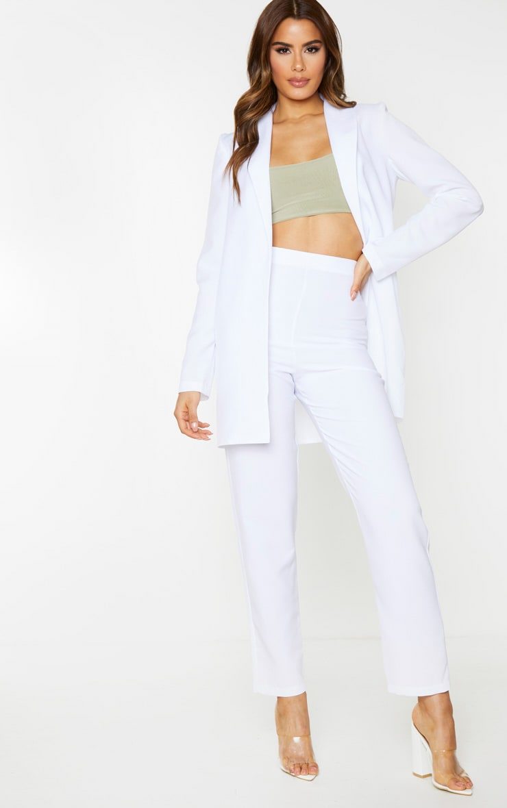 Tall White Cropped Suit Pants 1