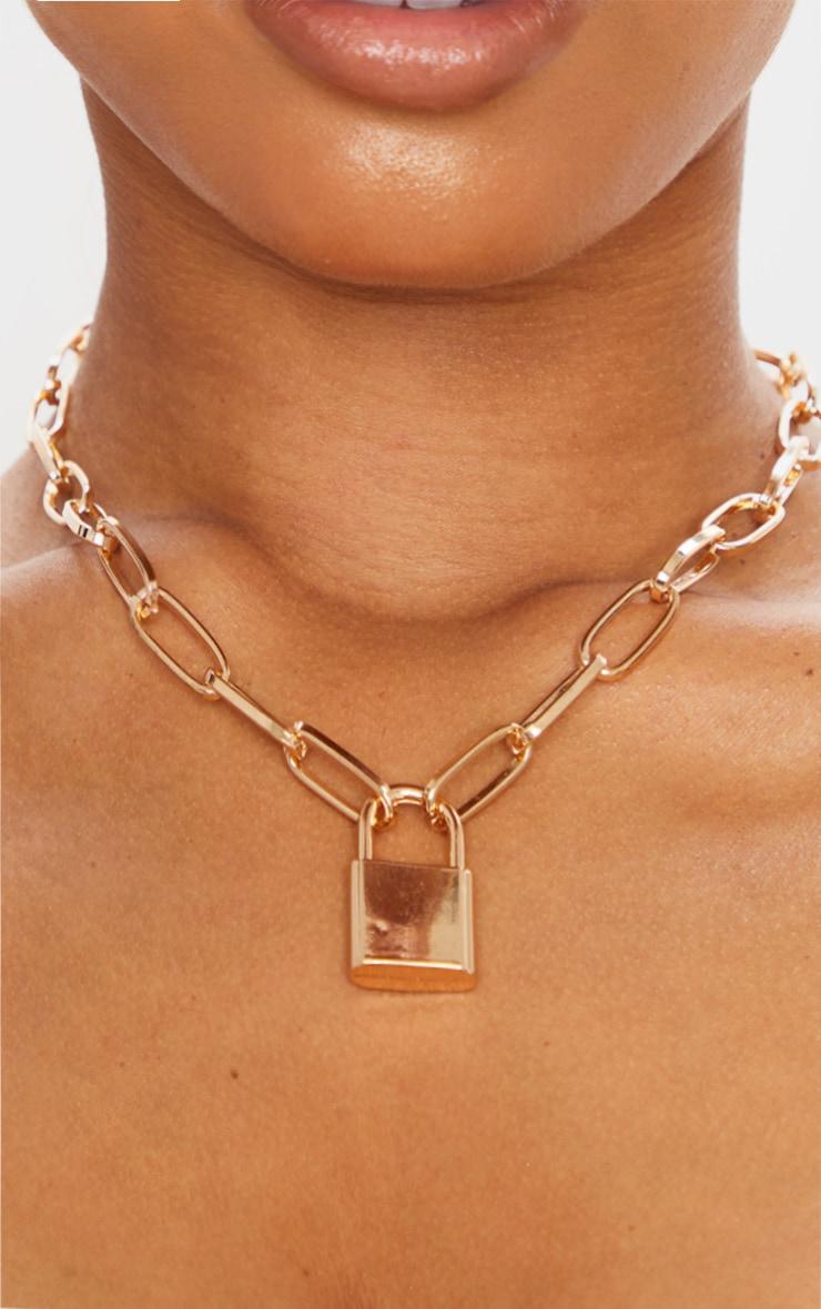 Gold Chunky Padlock Necklace 2