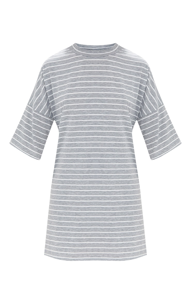 Grey Striped Oversized T Shirt Dress 3