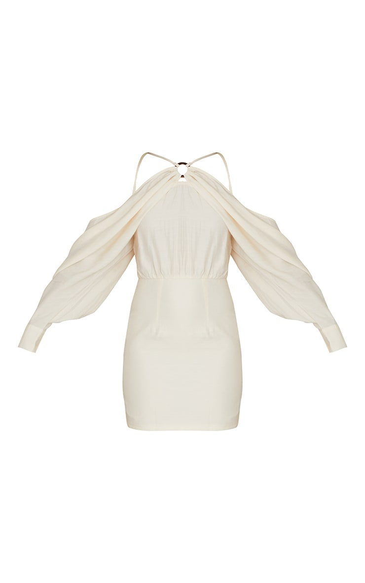 Stone Linen Look Batwing Sleeve Strappy Detail Bodycon Dress 5