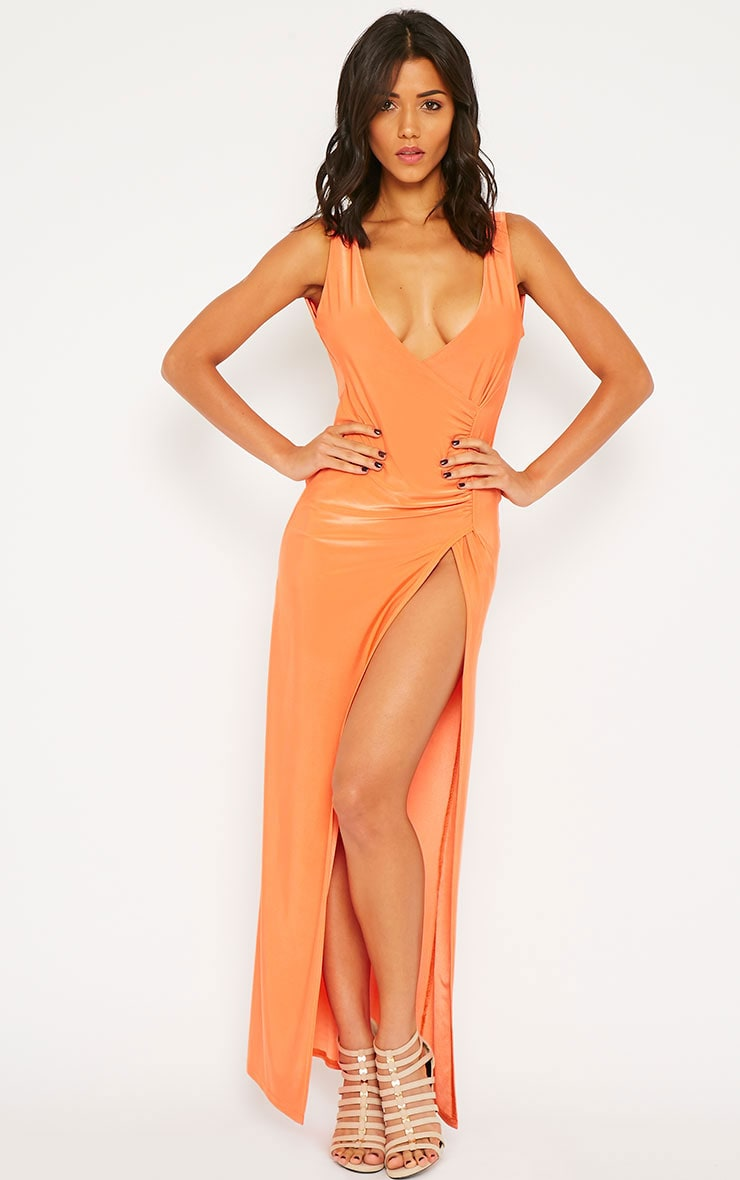 Dita Coral Slinky Extreme Gathered Split Maxi Dress 4
