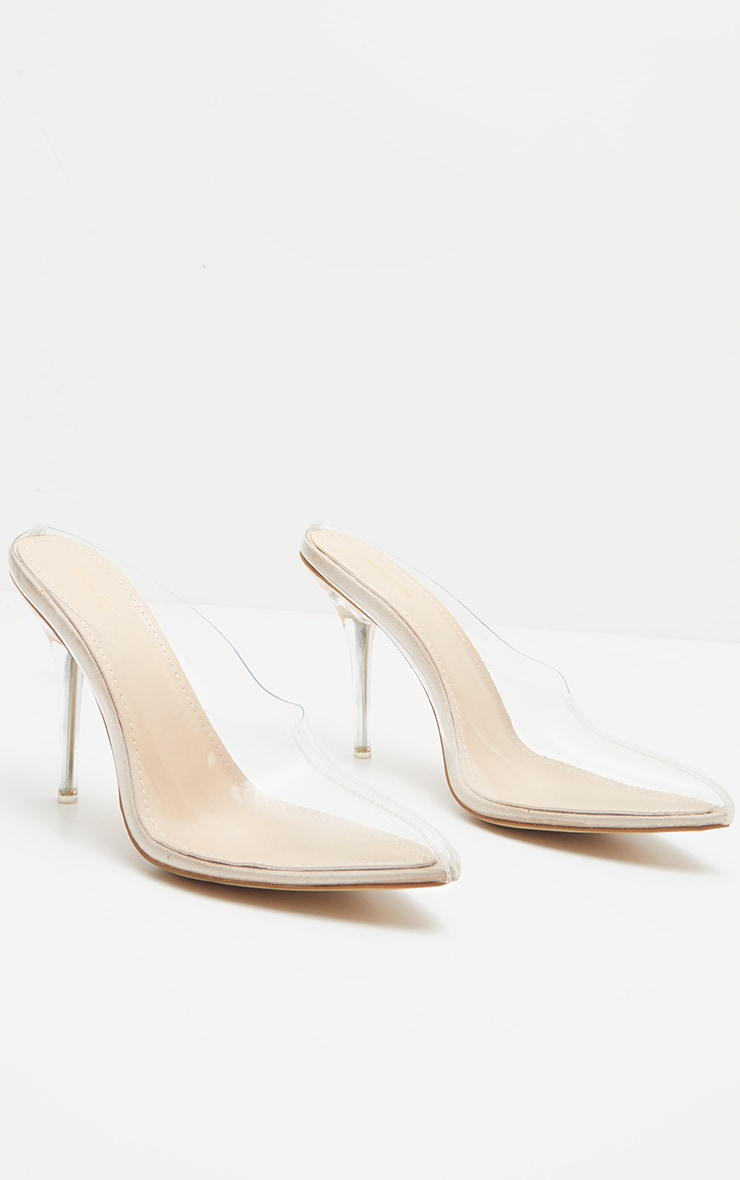 Nude Clear Mule Court Shoes  3