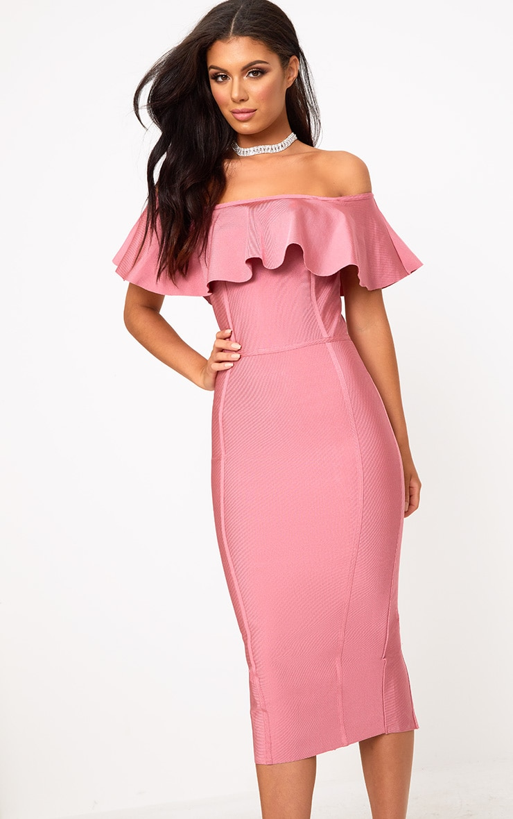 Rose Bandage Frill Bardot Midi Dress 1