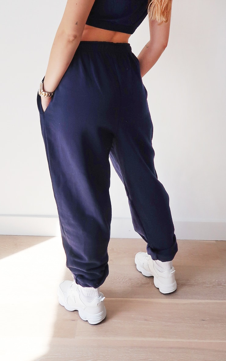 PRETTYLITTLETHING Navy Embroidered Track Pants 3
