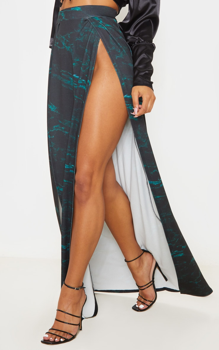 Teal Marble Print Double Split Maxi Skirt  2