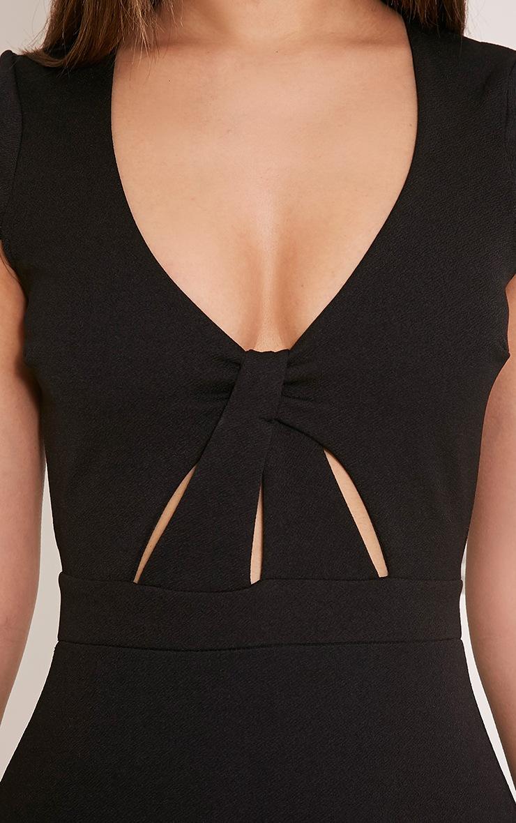 Rita Black Twist Front Dropped Peplum Bodycon Dress 6