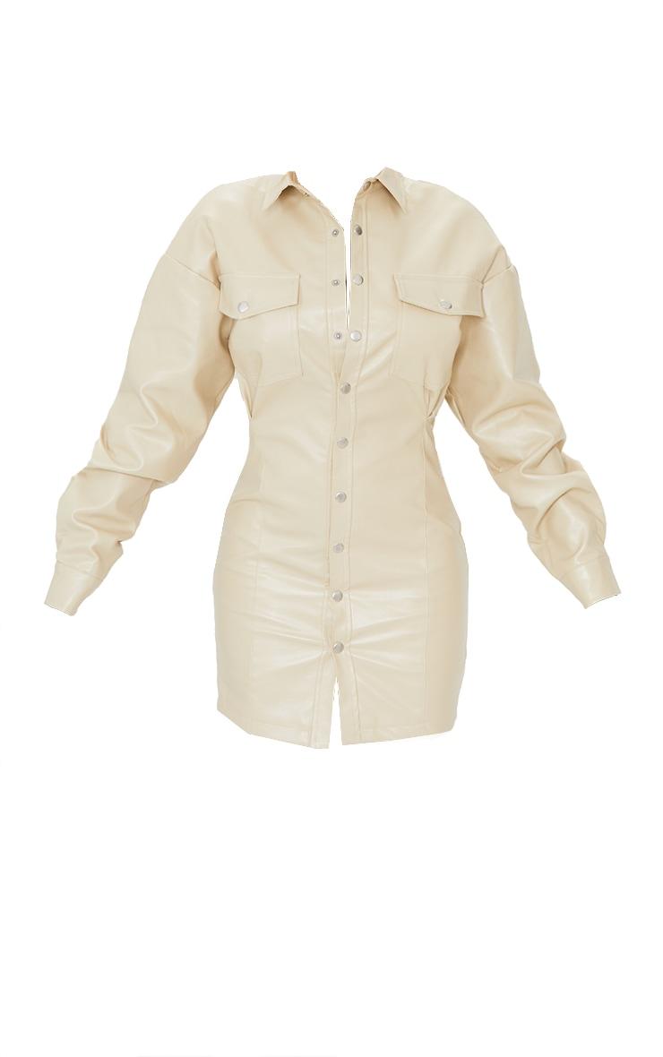 Stone Faux Leather Split Side Pocket Detail Shirt Dress 5