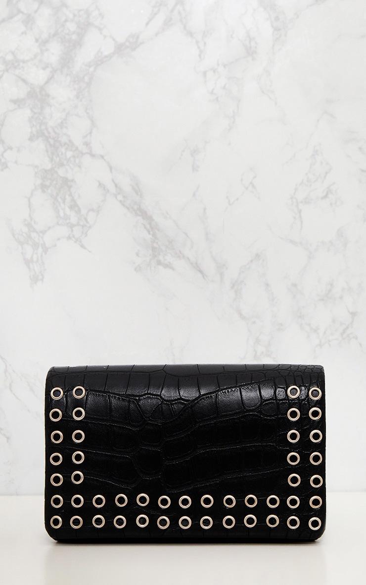 Black Snakeskin Eyelet Detail Shoulder Bag  3
