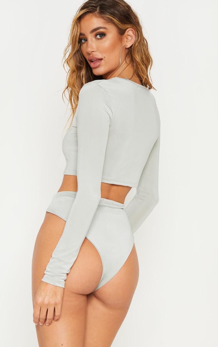Sage Green Long Sleeve Bikini Top 2