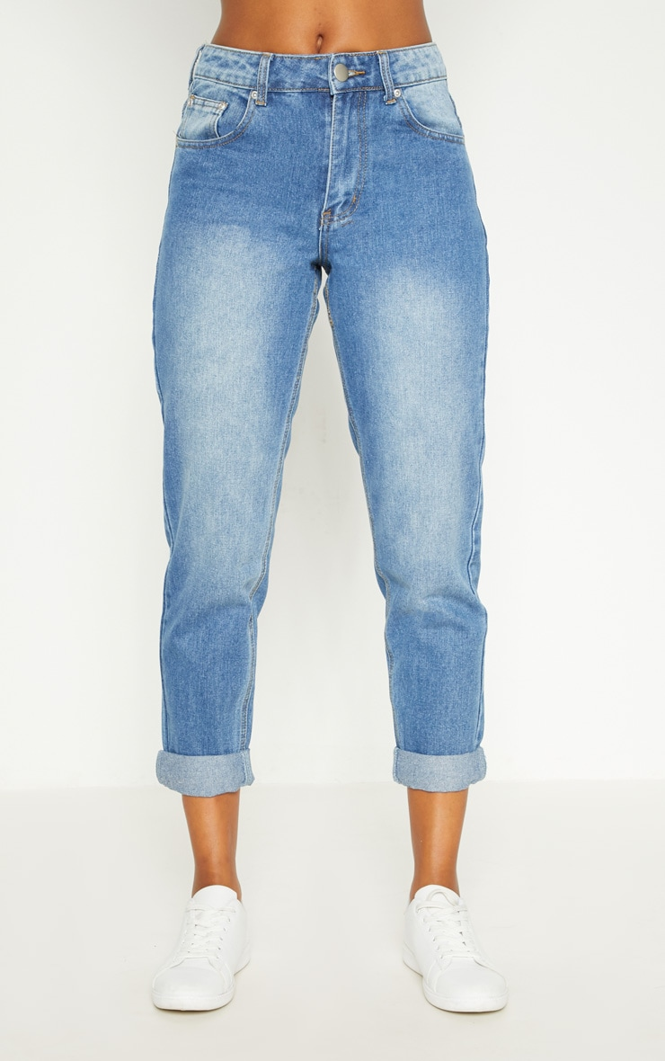 Mid Wash Mom Jeans 6