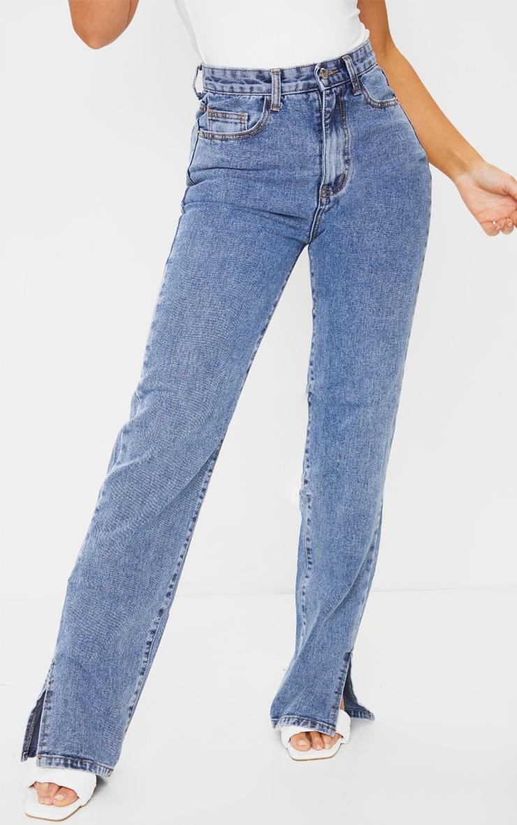 Vintage Wash Split Hem Jeans 2