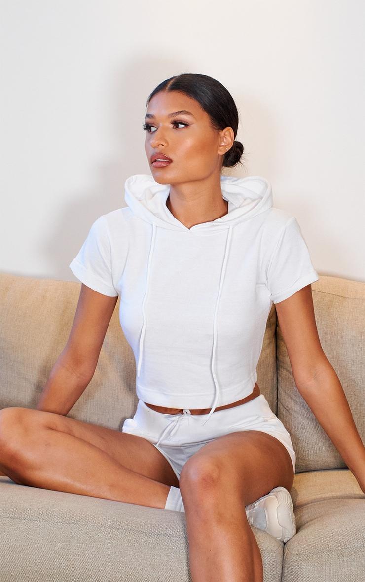 White Short Sleeve Raw Edge Cropped Sweater 1