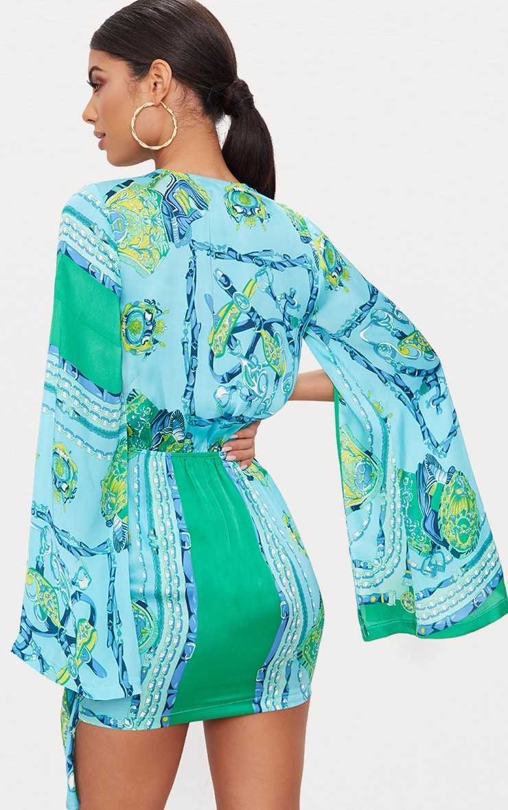 Turquoise  Scarf Print Flared Sleeve Wrap Bodycon Dress 2