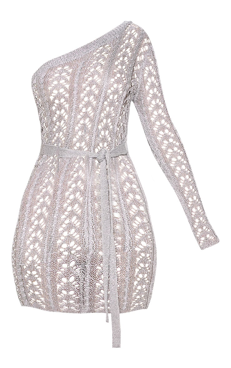 Silver Metallic Knitted Chain Detail One Shoulder Mini Dress 3