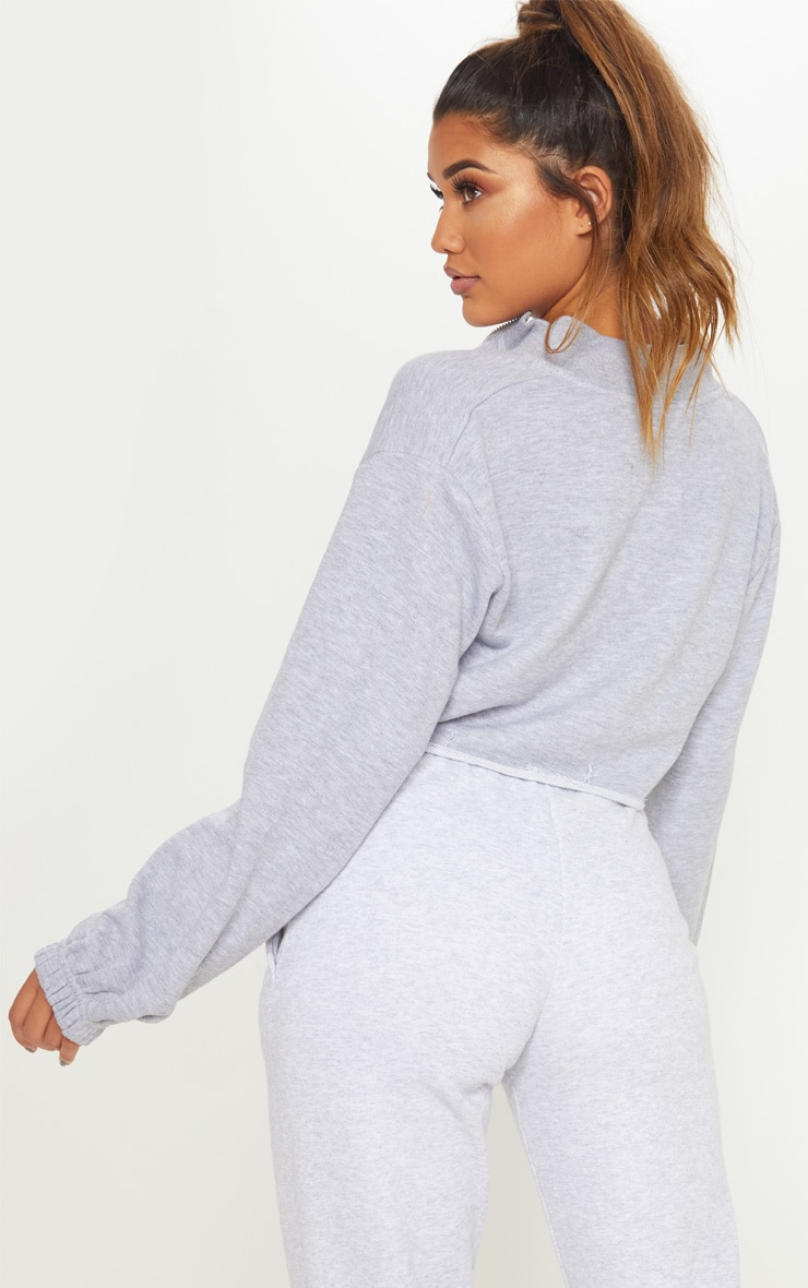 Grey Marl Zip Ultimate Crop 2