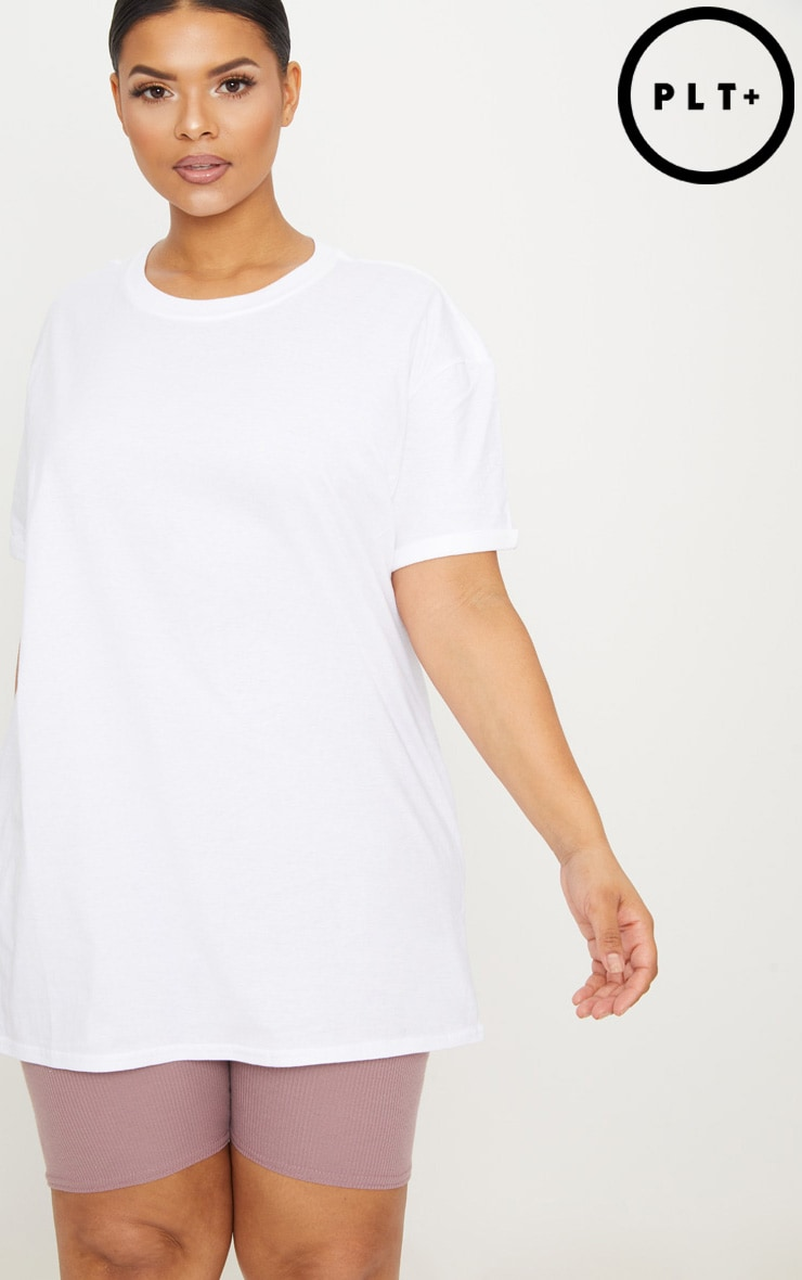 Plus White Oversized Boyfriend T Shirt  1