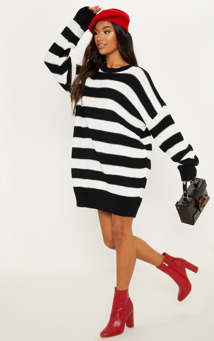 Monochrome Striped Knitted Jumper  1