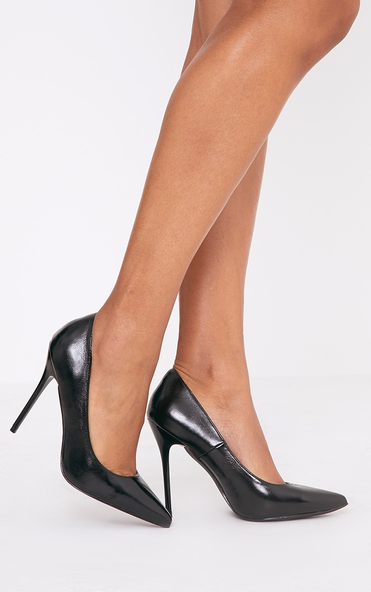 Julieta Black PU Stiletto Court Shoe 3