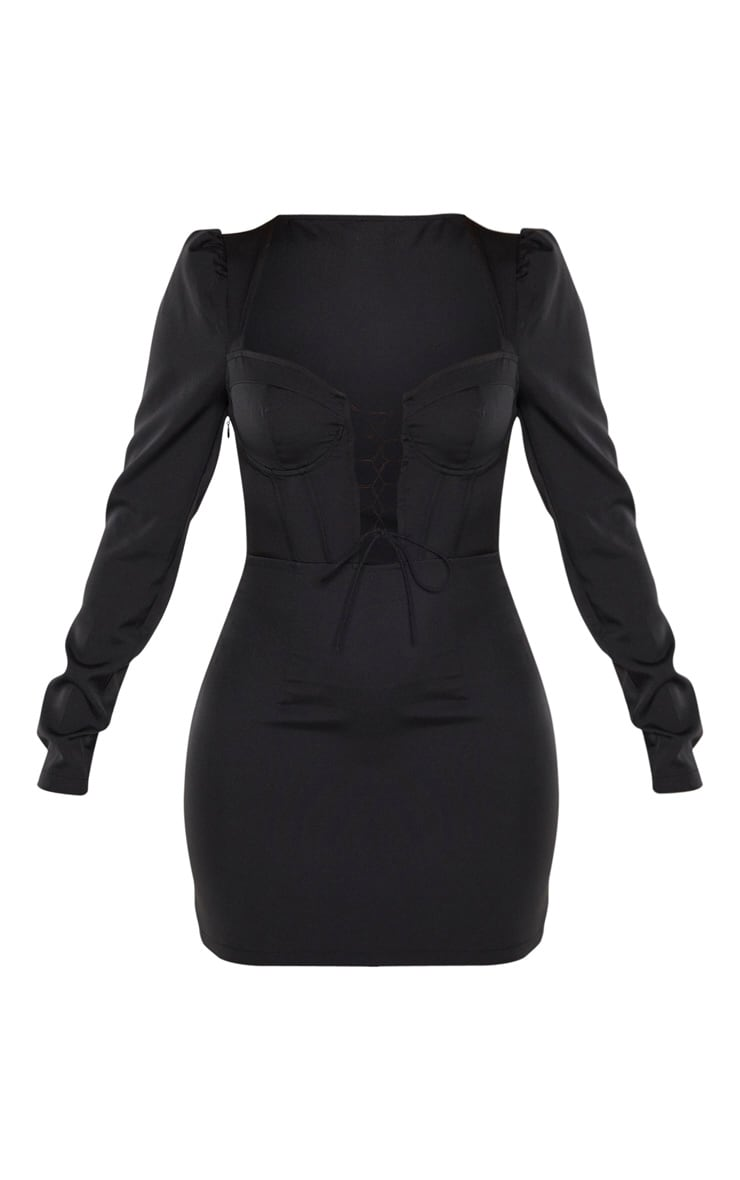 Black Lace Up Cup Detail Long Sleeve Bodycon Dress 3