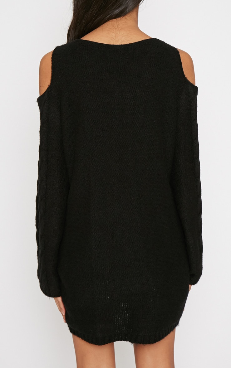 Clarisse Black Cut Out Shoulder Jumper  2