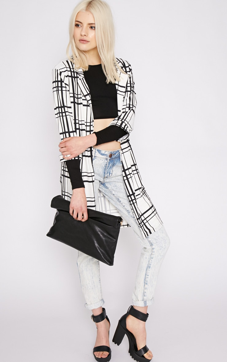 Aggie White Checked Duster Jacket  5