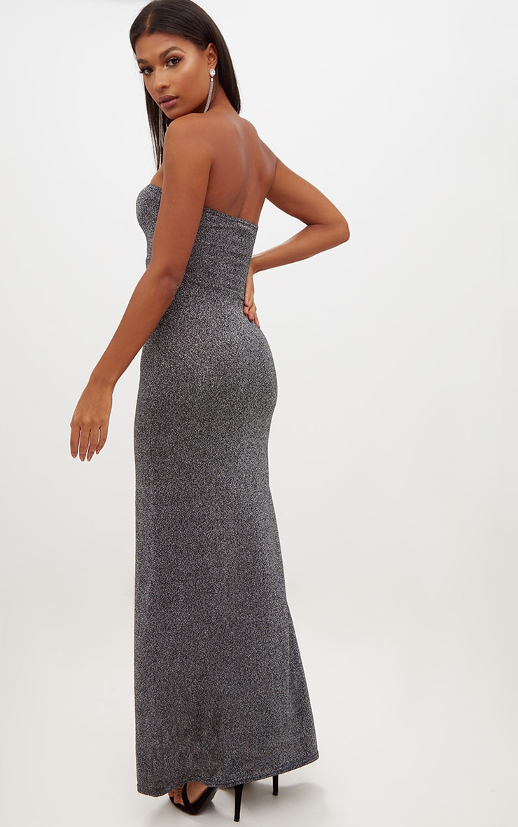 Silver Glitter Lurex Bandeau Maxi Dress 2