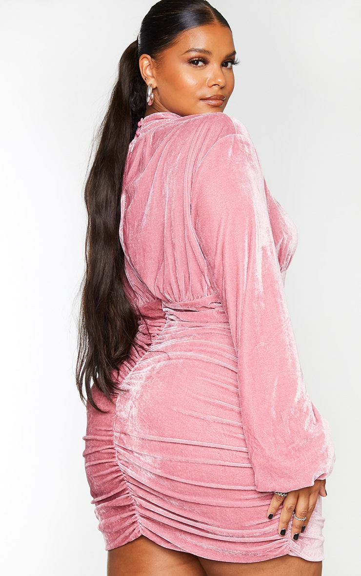 Plus Dusty Pink Velvet High Neck Ruched Balloon Sleeve Bodycon Dress 2