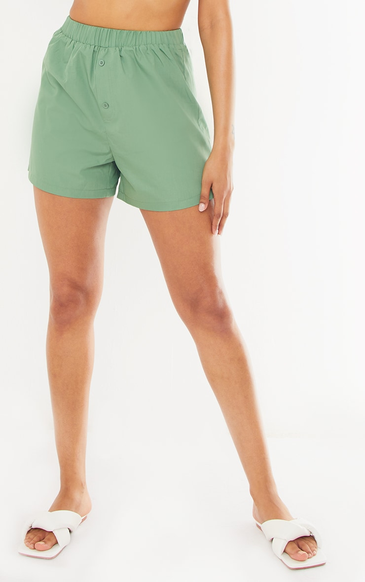 Sage Green Woven Boxer Detail Shorts 2