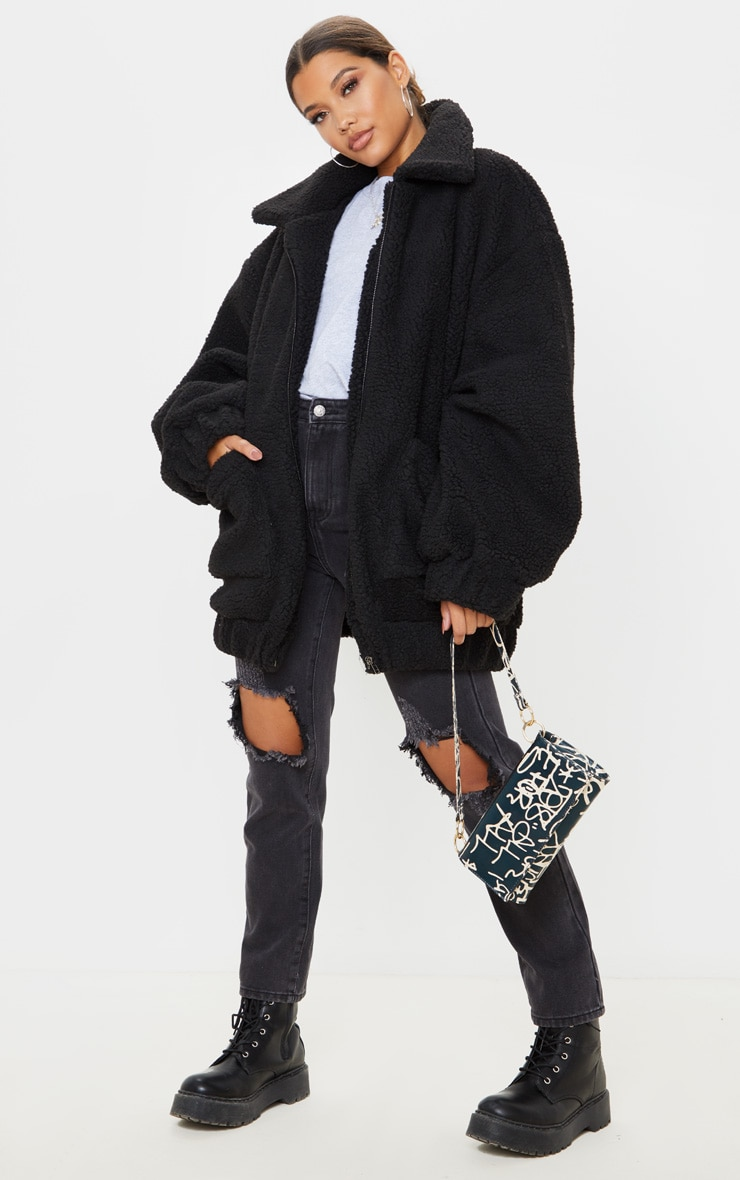 Black Oversized Borg Pocket Front Coat 4