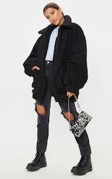 Black Oversized Borg Pocket Front Coat 4