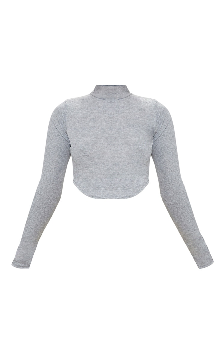 Petite Grey Marl High Neck Curve Hem Crop Top 3