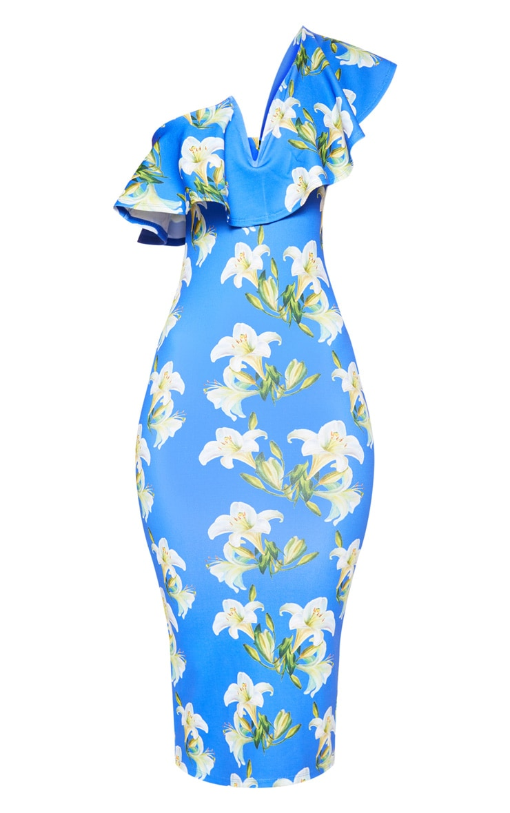 Cobalt Floral Print V Bar One Shoulder Midi Dress 3