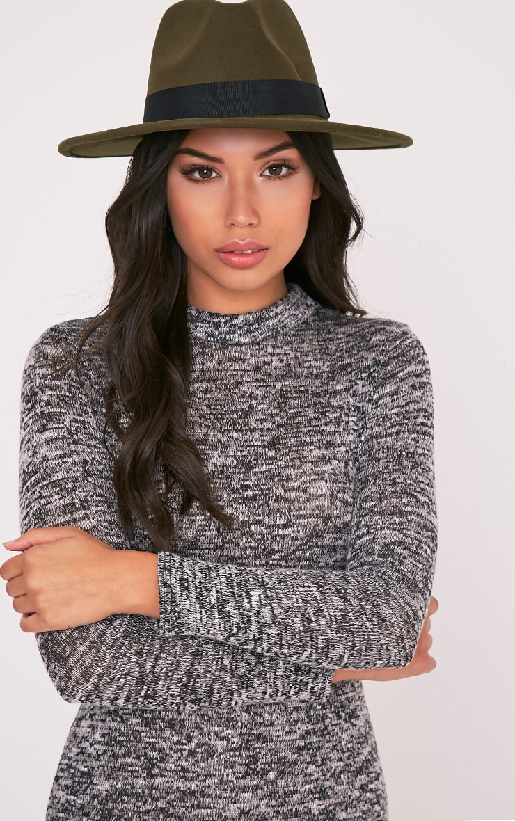 Kynia Khaki Wide Fedora Hat 1