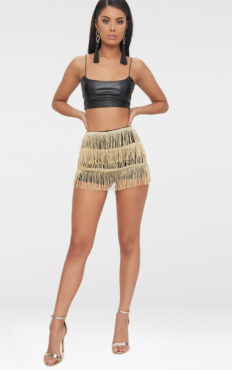 Gold Tiered Fringe Shorts 5